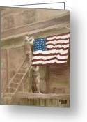 Patriotism Painting Greeting Cards - Hanging the Flag - 2 Greeting Card by Frieda Bruck