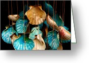 White Colors Greeting Cards - Hanging Together - Sea Shell Wind Chime Greeting Card by Steven Milner