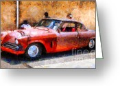 Made In The Usa Digital Art Greeting Cards - Hanging With My Buddy . 1953 Studebaker . Painterly . 5D16513 Greeting Card by Wingsdomain Art and Photography
