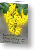 Spritual Greeting Cards - Hanging Yellow Flowers Ps. 11v7 Greeting Card by Linda Phelps