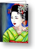 Maiko Greeting Cards - Hangyoko - half jewel Greeting Card by Emmanuel Turner