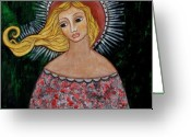 Religious Art Painting Greeting Cards - Haniel Greeting Card by Rain Ririn