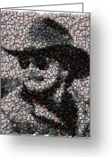Bottle Cap Greeting Cards - Hank Williams Jr. Bottle Cap Mosaic Greeting Card by Paul Van Scott