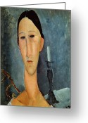 Modigliani Greeting Cards - Hanka Zborowska with a Candlestick Greeting Card by Amedeo Modigliani