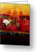 Grid Mixed Media Greeting Cards - Hanna The Flying Pig Greeting Card by Susan McCarrell
