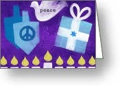 Star Of David Greeting Cards - Hanukkah Peace Greeting Card by Linda Woods