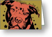 Pitbull Greeting Cards - Happiness Is The Pits Greeting Card by Dean Russo