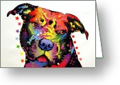 Animal Artist Greeting Cards - Happiness Pitbull Warrior Greeting Card by Dean Russo