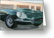 Jaguar E Type Greeting Cards - Happy 40th Greeting Card by Jack Atkins