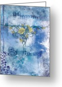 Stained Greeting Cards - Happy Birthday - Card Design Greeting Card by Christopher Gaston