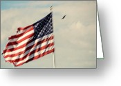 4th Greeting Cards - Happy Birthday AMERICA Greeting Card by Susanne Van Hulst