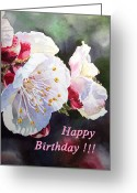 Apricot Painting Greeting Cards - Happy Birthday Card Apricot Flowers Greeting Card by Irina Sztukowski