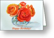 Birthday Card Greeting Cards - Happy Birthday Card Flowers Greeting Card by Irina Sztukowski