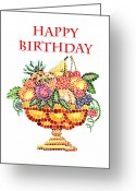 Apricot Painting Greeting Cards - Happy Birthday Card Fruit Vase Mosaic Greeting Card by Irina Sztukowski