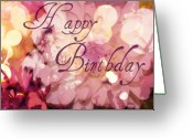 Purple Greeting Cards - Happy Birthday Greeting Card by Cathie Tyler