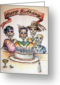 Cake Greeting Cards - Happy Birthday woman skull Greeting Card by Heather Calderon