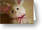Pink Ribbon Greeting Cards - Happy Bunny Greeting Card by Methune Hively