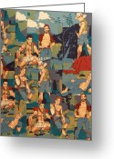 Men Tapestries - Textiles Greeting Cards - Happy Campers Greeting Card by Bob Hoffmann