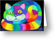 Colorful Drawings Greeting Cards - Happy Cat dark back ground Greeting Card by Nick Gustafson