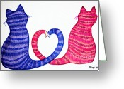 Colorful Drawings Greeting Cards - Happy Cats Greeting Card by Nick Gustafson