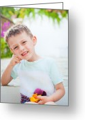 White T-shirt Greeting Cards - Happy child Greeting Card by Tom Gowanlock