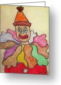 Early Pastels Greeting Cards - Happy Clown Greeting Card by Robyn Louisell