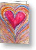 Orange And Yellow Heart Greeting Cards - Happy Dancing Heart Greeting Card by Samantha Lockwood