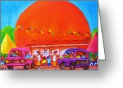 Orange Julep Greeting Cards - Happy Days At The Big  Orange Greeting Card by Carole Spandau