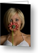 Blonde Girl Greeting Cards - Happy Flower Greeting Card by Scott Sawyer
