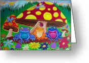 Mushrooms Greeting Cards - Happy Frog Meadows Greeting Card by Nick Gustafson