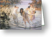 Nude Bath Greeting Cards - Happy Games Greeting Card by Paul Chabas