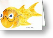 Happy Texas Artist Greeting Cards - Happy Golden Fish Greeting Card by Fred Jinkins