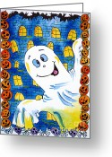 Trick Painting Greeting Cards - Happy Halloween - 1 Greeting Card by Zaira Dzhaubaeva