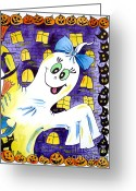 Trick Painting Greeting Cards - Happy Halloween - 2 Greeting Card by Zaira Dzhaubaeva