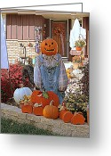 Overalls Greeting Cards - Happy Halloween Greeting Card by Kay Novy