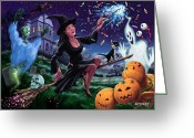 Haunted  Digital Art Greeting Cards - Happy Halloween Witch with graveyard friends Greeting Card by Martin Davey