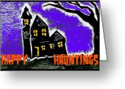 Howl Greeting Cards - Happy Hauntings Greeting Card by Jame Hayes