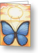 Sunset Drawings Greeting Cards - Happy Heart Greeting Card by Amy S Turner
