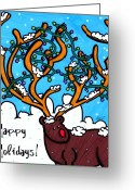 Rudolph Drawings Greeting Cards - Happy Holidays Greeting Card by Katie Hester