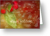 Berries Greeting Cards - Happy Holidays Greeting Card by Rebecca Cozart