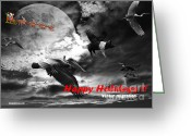 Flying Pigs Greeting Cards - Happy Holidays . Winter Migration . bw Greeting Card by Wingsdomain Art and Photography