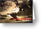 Flying Pigs Greeting Cards - Happy Holidays . Winter Migration Greeting Card by Wingsdomain Art and Photography