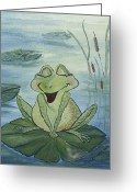 Lilly Pad Painting Greeting Cards - Happy in Love Greeting Card by Julie Cranfill