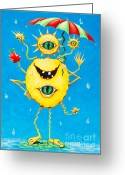 Cartoon Alien Eating Greeting Cards - Happy monster in the rain Greeting Card by Melle Varoy