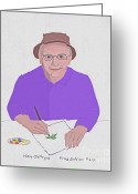 At Work Greeting Cards - Happy Old Artist Greeting Card by Fred Jinkins