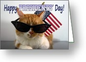 U.s.a. President Greeting Cards - Happy Presidents Day Greeting Card by Michelle Dokos