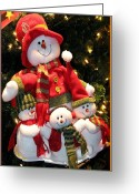 Chris Anderson Photography Greeting Cards - Happy Snowman Family Greeting Card by Chris Anderson