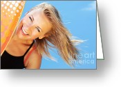 Surf Lifestyle Greeting Cards - Happy surfer beautiful teen girl Greeting Card by Anna Omelchenko