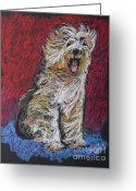 Panting Dog Greeting Cards - Happy The English Sheepdog Greeting Card by Michele Hollister - for Nancy Asbell