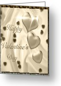 True Feelings Greeting Cards - Happy Valentines Day Tiger Greeting Card by Debra     Vatalaro